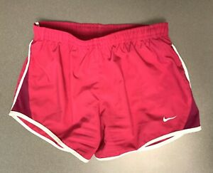 Nike DriFit Girls M Pink White Athletic running shorts Tie inside waist Medium