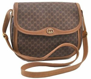 Authentic GUCCI Micro GG PVC Leather Shoulder Cross Body Bag Brown D9918