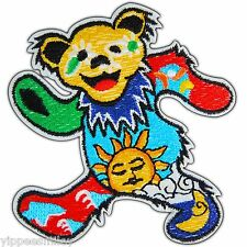 Dancing Bear Grateful Dead Flowers Colorful Hippie Peace Iron On Patches #M0041