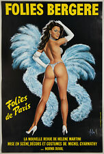 Original 1974 Folies Bergere Pin-Up Showgirl Advertising Poster Art by Aslan
