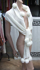 Fabulous, Luxurious, Ultra Soft Cream Off-White Large Scarf wth Bobbles Pom-Poms