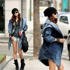 Women Ladies Windbreaker Coat Fashion Cool Denim Jacket Oversized Hoodies
