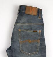 Nudie Jeans Herren Dünn Finn Stretch Slim Jeans Größe W29 L32 AOZ216