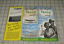 1951 Lake Champlain Ferry Crossing Fold-out Schedule Brochure Vt to Ny