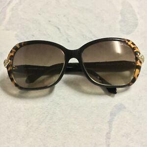 Roberto Cavalli Dark Brown Animal Print Oversized Butterfly Sunglasses