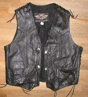 LEATHER WONDERS Herren- Schnür- LEDERWESTE / Biker- Weste in schwarz ca. Gr. 52