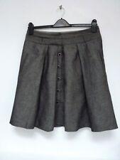 Ladies Lovely Next Grey Weave Knee Length Button Pleat Skirt Size 12 R, Vgc