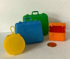 Vtg Barbie-size set of multi-color luggage – 5 pcs (tray in train case) 1960s