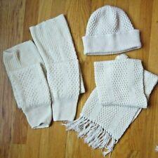 WINTER WHITE HAT SCARF LEG WARMER ENSEMBLE POPCORN STITCH