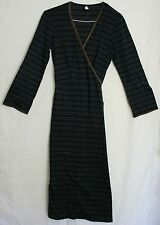 dosa WRAP AROUND DRESS / GOWN / ROBE size 2 -UK 10 DARK BLUE FABULOUS QUALITY