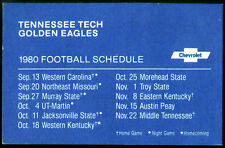 1982 TENNESSEE TECH CHEVROLET FOOTBALL POCKET SCHEDULE EX+NM CONDITION