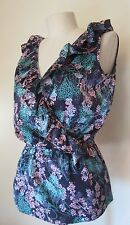 Attention NWT Blue Floral Sleeveless Silky Blouse Size S