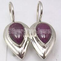 "925 Solid Silver NATURAL DROP RUBY Beautiful UNUSUAL Dangle Earrings 1"""