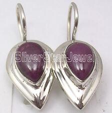 "Beautiful Unusual Dangle Earrings 1"" 925 Solid Silver Natural Drop Ruby"
