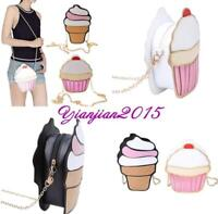 Pop Women Girl 3D Ice Cream Shoulder Bag Handbag Chain Purse Crossbody Clutch J