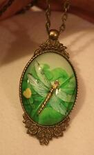 Lovely Floral Rim Brasstone Green & Yellow Dragonfly in Flight Cameo Necklace