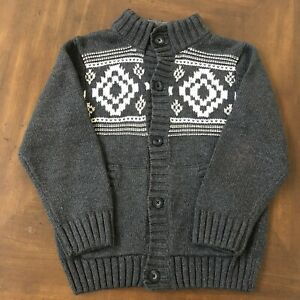 GYMBOREE BOYS Cardigan Style Buttoned THICK SWEATER Size M (7-8) - Gray