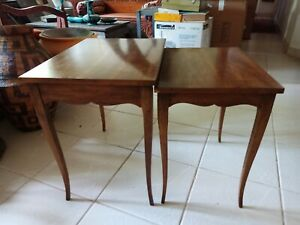 Vintage Heritage Nesting Tables-70s French Pair Regency Solid Wood