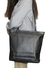 Genuine Leather Black Tote Large Women's Handbag Shoulder Purse