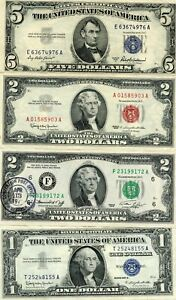 1953-A $5, 1963 & 1976 STAMPED 1ST DAY $2 &1957-B $1 SILVER CERT!!..STARTS@ 2.99