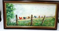 COLORFUL OIL ON BOARD BLUE BIRDS RED ROBINS ON FENCE PAINTING IN FRAME STOWE ART