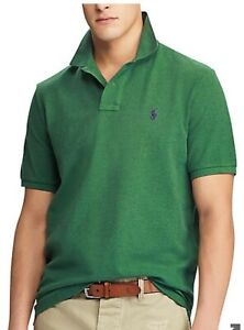 Polo Ralph Lauren Mens Shirt Green Size XXL/2XL Custom Slim Fit Solid Mesh