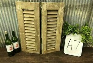 Small Antique Farmhouse Shutter, Natural Wood Shutter Architectural Salvage A7,