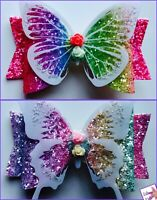 """Hair Bows Premium Glitter Pastel/Rainbow Bow with Butterfly - 3.5"""" With Clip"""