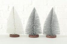 Baum Deko Weihnachten Kunststoff silber H 22 cm 3er Set