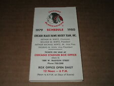 1979-80 CHICAGO BLACK HAWKS NHL HOCKEY POCKET  SCHEDULE ILLINOUS BELL