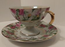 Napcowear Footed Fancy Teacup & Saucer Pink Yellow Flowers Gold Handle Japan