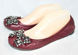 TORY BURCH Azalea Jewel Embellished Scrunch Flats Wo's 8.5M Burgundy Leather