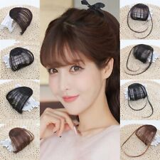 1Pcs Clip In on Bangs Fringe Human Hair Extensions Hairpiece Front Neat Hair C8