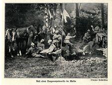 1914 West-Polen * Kämpfe bei Lodz. Dragonerpatrouille im Wald  *  WW1