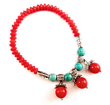 Red coral and turquoise bead bracelet w/ charm and silver accent good fortune