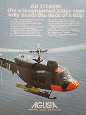 4/1976 PUB AGUSTA HELICOPTER AGUSTA BELL AB 212 ASW HUBSCHRAUBER ORIGINAL AD