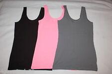 Jr Womens 3 LOT TANK TOP Scoop Neck ASH GRAY, BLACK, & LIGHT PINK Size S 3-5