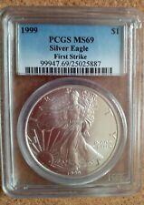 1999 Pcgs Mint State Ms69 First Strike American Silver Eagle Low Pop