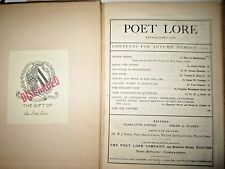 POET LORE autumn 1904  play Monna Vanna  by Maurice Maeterlinck noble recipient