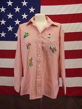Mili Designs Shirt Long Sleeve Pink/White Summer  Golf Applique Women's Size M