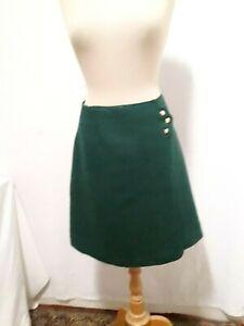 N28 Mini Jupe trapèze verte en laine T.38 VINTAGE 60 Green wool mini skirt sz S