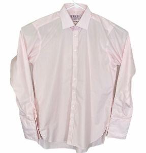 New Thomas Pink Men's Long Sleeve Dress Shirt Size 16.5-36 Pink Check NWOT