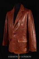 Hombre Henry Chaqueta Marrón Piel De Cordero Real Leather Clásico Casual