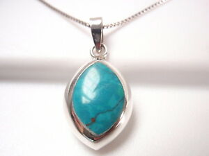 Reversible Blue Green Turquoise and Mother of Pearl 925 Sterling Silver Pendant