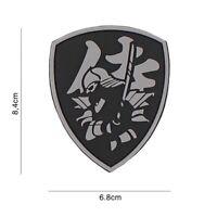 3D PVC morale patch Samurai Warrior shield airsoft softair grey black