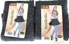 LOT 2 PAIRES DE COLLANTS OPAQUES FILLE 8/10 ans 31/34 gris chiné MAXMEDIA NEUF