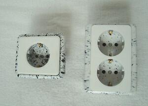 Bakelite Schuko Socket Outlet Flush mount European EU 16A/250V Marble Vintage
