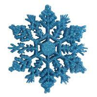 12 Pcs Glitter Snowflake Christmas Ornaments Xmas Tree Hanging Decoration Blu T1