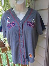 Disney  Women's Large Micky Mouse Jersey Baseball Cotton Top~New York ~Button Up