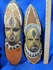 Pair of Very Colorful Face Sculptures — Authentic Handcarved African Wood Art